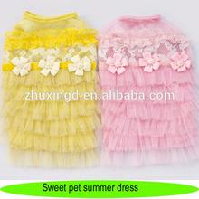 Pet summer dress, sweet multilayer veil dress with flowers, wholesale summer dog dress
