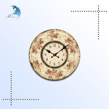 Custom design 27cm antique round mdf wall wood clock in China made