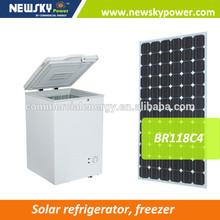 new design solar deep freezer AC/DC 12v solar mini freezer glass door freezer