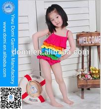 Cute colorful tiered rainbow kids swimwear for girls