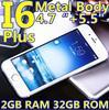Original Goophone i6 phone i6 plus Phone MTK6582 Quad Core 5.5 inch 1280*720 IPS Screen 3G GPS alu 13.0MP Metal Body 4G 4.7inch