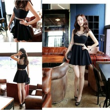 Women Casual Slim Sexy Party Elegant Gauze Tulle Lace Ball Gown Tutu Diamond Crystal Beads Collar Black Short Mini Vest Dress