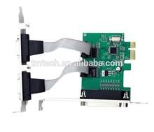2 Port PCI-E Adapter RS-232 Serial COM & 1 Port Printer Parallel LPT Port