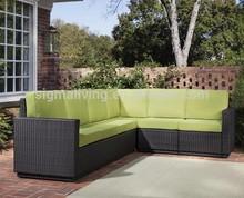 Estilos de Riviera seis assento L forma de vime ao ar livre sofá secional de maçã verde