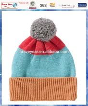 100% acrylic stripe bobble knit hat for children/wholesale hats Canada /cheap hat cap