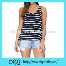 OEM ladies knitting stripe tank tops t-shirt for women
