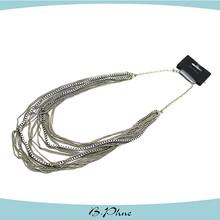 Silver meatl jewelry turkish bib necklace