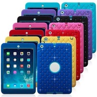 Hot sale For ipad mini2 hybrid armor defender skin case cover with diamond