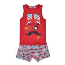 Boy summer cartoon suit kids sun-top+underwear children short pajamas set 100%cotton sleep wear