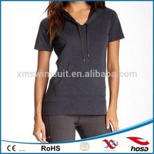 Front pocket summer short sleeve wholesale fitness hoodies