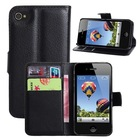 Flip PU Stand Leather Wallet case cover for iPhone 4 iPhone 4s case