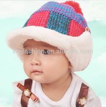 Classic Checked Jacquard Children's Winter Acrylic Knit Pom Pom Hat