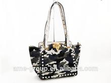 Trendy Stylish Multicolor camouflage PU Ladies Tote Bag