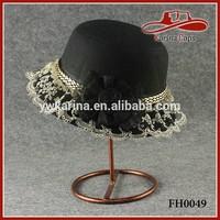 Lady Wool Felt Bowler Derby Dress Hat Floral Supreme Bucket Hats