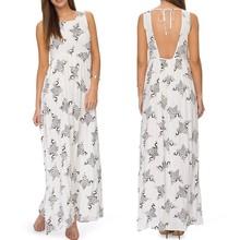 Modelos de vestido de praia de volta square pescoço da cópia floral vestidos de viscose