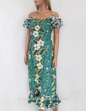 2015 de verano sin tirantes de algodón largo de hawai vestidos para las mujeres