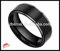 8mm Black Titanium Rings Flat Brushed Wedding Bands for Men Women Comfort Fit