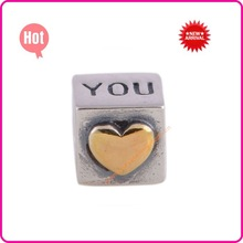 wholesale big hole loose heart beads jewelry for european style bracelet love you bracelet beads LW037