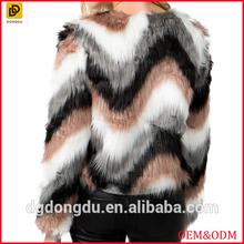 Fully lined open front multicolor zig zag faux fur coat women