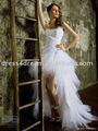 frente de curto e longo de volta do laço vestido de noiva 2015 com tule e tafetá de