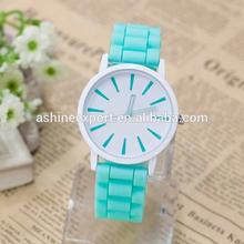 Hot Sale High Quality Simple Fashion Newest Deisgn Sky Blue Silicon Watch Geneva Brand Wrist Watch in Stock!