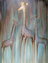 """""""3 Lovely Giraffes"""" Modern Handmade Canvas Animal Oil Painting"""
