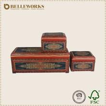 Chinese antique furniture storage box beautiful furniture designer printing leather covered storage trunk