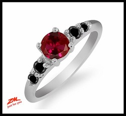 0.78 Ct Round Red Created Ruby and Black Diamond 925 Sterling Silver Ring