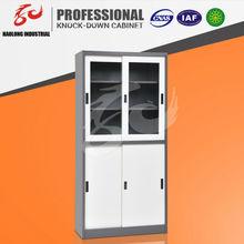 Knocked down structure bookcase design Glass Steel Sliding Door Filing Cabinet