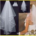 """Baratos imagem real em estoque 1 camada branca de marfim casamento 1/5"""" de cetim borda pente véus para vestidos de noiva vestidos de noiva e acessórios"""