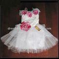 Tulle perles sans manches des robes pour les filles bébé anniversaire, avec des fleurs de atigrada vestidos aniversario para meninas