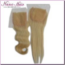 Free parting , middle parting or 3 parting wholesale virgin 4x4 top brazilian closure lace closures #613 color