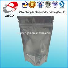 Factory wholesale front clear back foil silver aluminum foil plastic bag