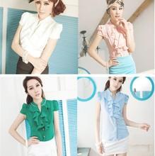 Japan and South Korea Korean Women Slim flouncing beaded short sleeve shirt collar shirt /2013 Fashion short Sleeve women blouse