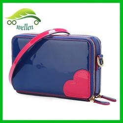 Women shoulder bag double zipper large capacity wallet with wrist belt
