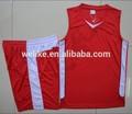 Fresco tecido de malha sublimation red e branco college basketball projetos uniformes