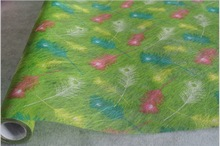 Colorful feathers printed polyester fiber non-woven/nonwoven fabric