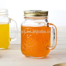 16oz Drinking Glass Jar Juice Mug with Handle and Lid