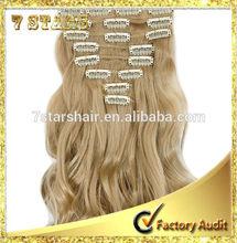 10pcs 20 clips 100% Indian black human hair/ clip-in human hair extension