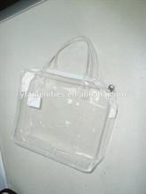 hotel transparent white zipper bag