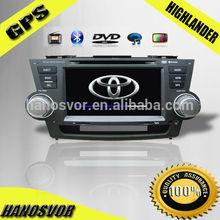 HOT!!! Big size Car DVD Gps for toyota higlander 2007-2013 year with SD/USB/BT/IPOD/TV/4GB MAP