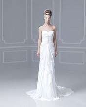 Cheap Sweetheart Beaded Pleats Chiffon Marriage Dresses For Girls Backless Sheath Wedding Dresses 2014 New Arrival