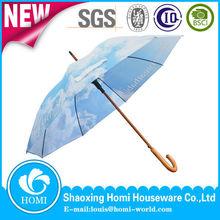 2015 Homi blue sky auto open straight wooden shaft umbrella shop celebration