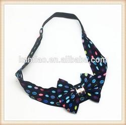 China cheap wholesale black chiffon dot elastic selling hairband hair bow infant headbands
