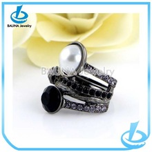 Fashion women pearl jewelry vintage black ring