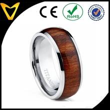 Red wood Titanium Ring Wedding Band, wood Engagement Ring