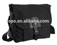 Custom shoulder messenger bag, black canvas lady messenger bag