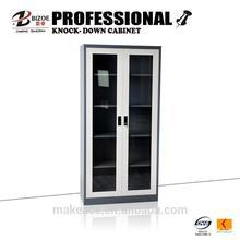 modern cheap metal kd steel filing cabinet with glass swing door