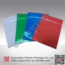 flat suqare aluminum foil heat seal colored plastic zip pouch