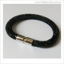 new arrival stainless steel magnet locket black resin bracelet